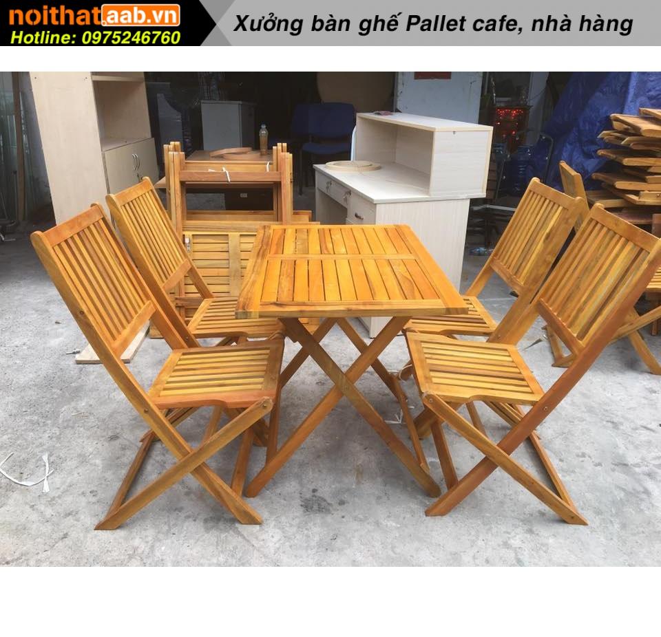 bàn ghế gỗ xếp lớn màu sắc tự nhiên tươi sáng