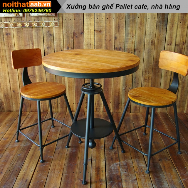 Bộ bàn ghế chân sắt mặt gỗ đẹp cho quán cà phê